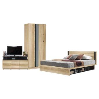 ชุดห้องนอน ขนาด 6 ฟุต รุ่น Patinal สีโอ๊ค ตู้บานเปิด 90 พร้อมชั้นวางทีวี 120 ซม.-00
