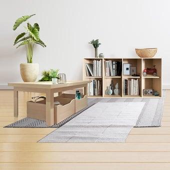 โต๊ะกลาง ขนาด 120 ซม. รุ่น Palin & กล่องเก็บของใต้โต๊ะ พร้อมตู้เตี้ย Palin สีไม้อ่อน01