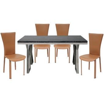 ชุดโต๊ะอาหาร รุ่น Apollo สีขาว & เก้าอี้Yindeeสีน้ำตาลx401