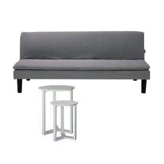 โซฟาเบดผ้า Monick สีเทา & โต๊ะข้าง Vincent#201
