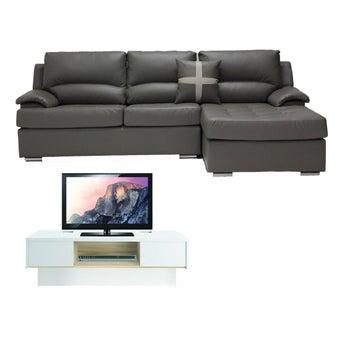 โซฟาหนังเข้ามุมขวา Graham สีเทา & Urbani ชั้นวางทีวี ขนาด 120 ซม.01
