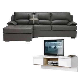 โซฟาหนังเข้ามุมซ้าย Graham สีเทา & Urbani ชั้นวางทีวี ขนาด 120 ซม.01
