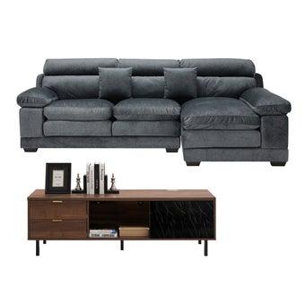 โซฟาผ้าเข้ามุมขวา Tennessee สีเทา & ชั้นวางทีวี ขนาด 160 ซม. Tavern01