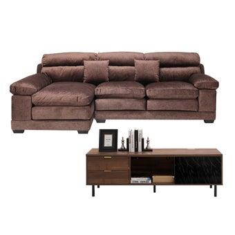 โซฟาผ้าเข้ามุมซ้าย Tennessee สีน้ำตาล & ชั้นวางทีวี ขนาด 160 ซม. Tavern01