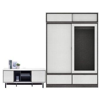 ตู้เสื้อผ้า ขนาด 160 ซม. รุ่น Hagen สีขาว01