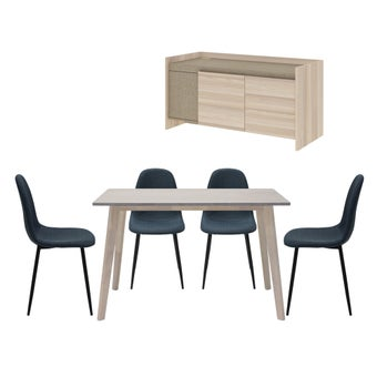 ชุดโต๊ะอาหาร รุ่น Wediya & เก้าอี้ รุ่น Lalada & ชั้นวางทีวี ขนาด 120 ซม. รุ่น Econi-00