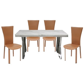 ชุดโต๊ะอาหาร รุ่น Apollo สีขาว เก้าอี้Yindeeสีน้ำตาล x401