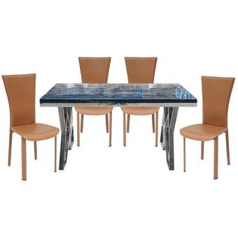 ชุดโต๊ะอาหาร รุ่น Apollo สีดำ & เก้าอี้Yindeeสีน้ำตาล x401