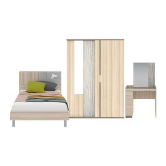 ชุดห้องนอน ขนาด 3.5 ฟุต รุ่น Econi สีโอ๊คอ่อน01
