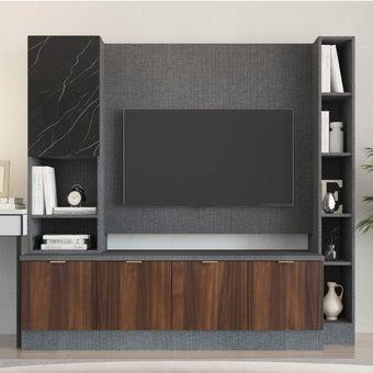 ชุดวางทีวีและตู้โชว์ รุ่น Contini สีไม้เข้ม2