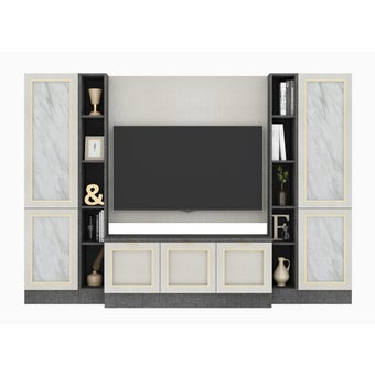 ชุดวางทีวีและตู้โชว์ รุ่น Contini สีขาว01
