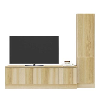 ชุดวางทีวีและตู้โชว์ รุ่น Contini สีโอ๊ค01