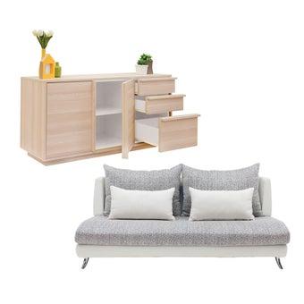 โซฟาผ้า 3 ที่นั่ง Jelly สีขาว & ตู้เตี้ย ขนาด 150 ซม. รุ่น Aleece01