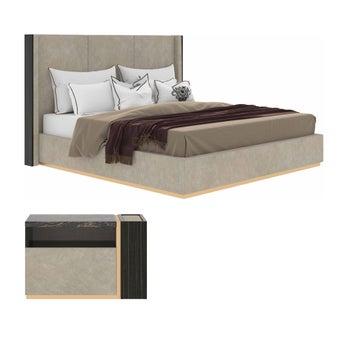 ชุดห้องนอน ขนาด 6 ฟุต รุ่น La Viera สีเทาอ่อน01