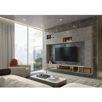 ชุดวางทีวีและตู้โชว์ รุ่น Infinity สีไม้อ่อน01