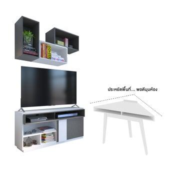 ชุดวางทีวีและตู้โชว์ รุ่น Infinity สีขาว01