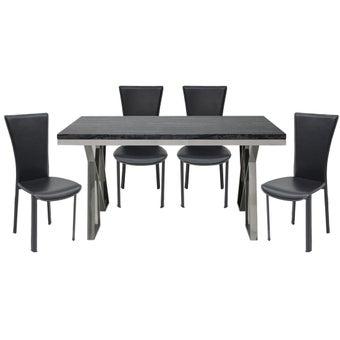ชุดโต๊ะอาหาร รุ่น Apollo สีดำ & เก้าอี้ Yindee สีดำ x401