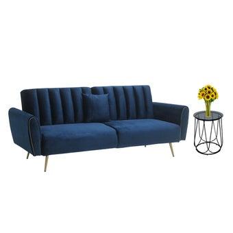 โซฟาเบดผ้า รุ่น Cecilia สีน้ำเงิน & โต๊ะข้าง Scoth-D4001