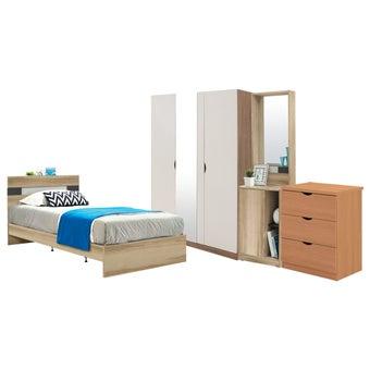 ชุดห้องนอน ขนาด 3.5 ฟุต รุ่น Harper สีโอ๊ค01