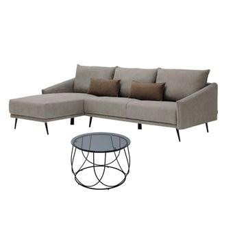 โซฟาผ้าเข้ามุมซ้าย Syrup#2 สีน้ำตาล & โต๊ะกลาง Scoth-C6001