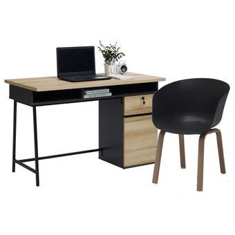ชุดโต๊ะทำงาน ขนาด 120 ซม. รุ่น Worka สีโอ๊ค&เก้าอี้ รุ่น Levy#22