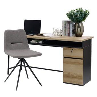 โต๊ะทำงาน ขนาด 150 ซม. รุ่น Worka สีโอ๊ค & เก้าอี้ รุ่น Thana#2 สีเทา01