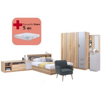 ชุดห้องนอน ขนาด 5 ฟุต รุ่น Moritz สีโอ๊ค01