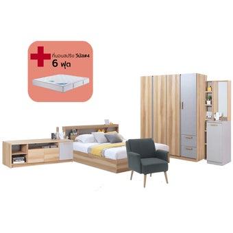 ชุดห้องนอน ขนาด 6 ฟุต รุ่น Moritz สีโอ๊ค01