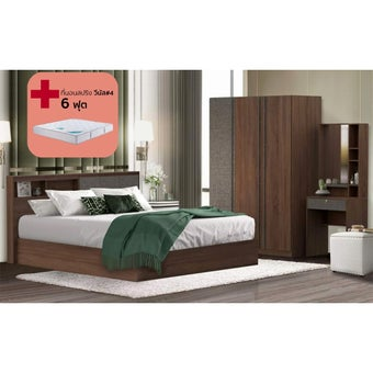 ชุดห้องนอน ขนาด 6 ฟุต รุ่น KC Limited สีไม้เข้ม01