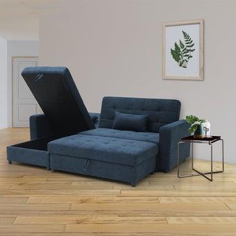 โซฟาผ้าเข้ามุมสลับด้านได้ซ้าย/ขวา Coris สีน้ำเงิน & โต๊ะข้าง Joiner1