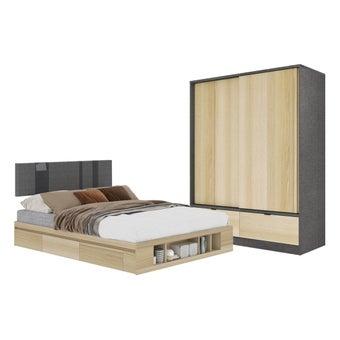ชุดห้องนอน ขนาด 5 ฟุต รุ่น Lester ตู้บานเลื่อน 160 ซม. สีไม้อ่อน01