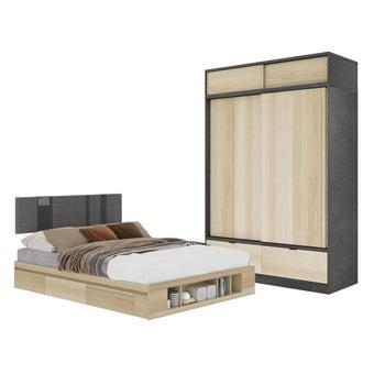 ชุดห้องนอน ขนาด 5 ฟุต รุ่น Lester ตู้บานเลื่อน 160 ซม. พร้อมตู้ท่อนบน สีไม้อ่อน1