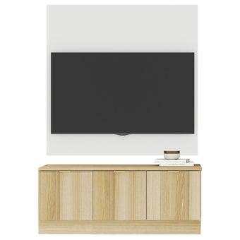 ชุดวางทีวีและตู้โชว์ 120 ซม. รุ่น Contini สีโอ๊ค พร้อมผนังแขวน01