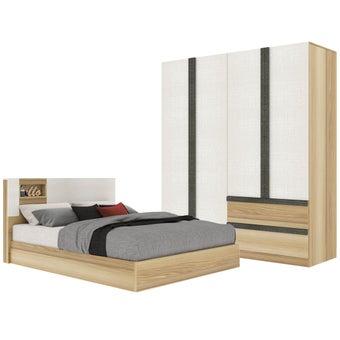 ชุดห้องนอน ขนาด 5 ฟุต รุ่น Nikko & ตู้บานเปิด 180 สีไม้อ่อน1