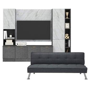 ชุดวางทีวีและตู้โชว์ 220 ซม. รุ่น Contini สีเทา พร้อมผนังแขวน01