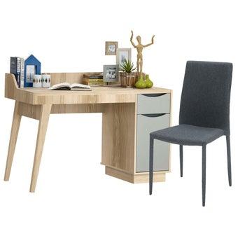 โต๊ะทำงาน ขนาด 120 ซม. รุ่น Backus พร้อมเก้าอี้ Lavong สีไม้อ่อน1