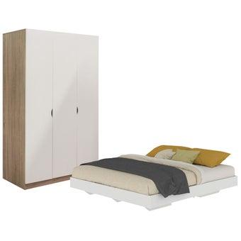 ชุดห้องนอน ขนาด 6 ฟุต รุ่น Blissey สีขาว & ตู้บานเปิด1201