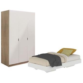 ชุดห้องนอน ขนาด 3.5 ฟุต รุ่น Blissey สีขาว & ตู้บานเปิด12001