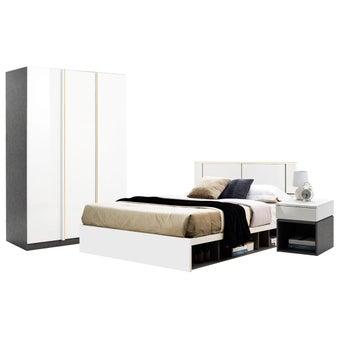 ชุดห้องนอน ขนาด 6 ฟุต รุ่น Element & ตู้บานเปิด134 สีขาว1