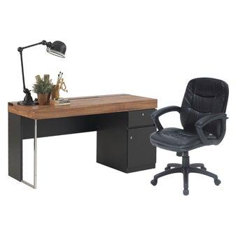 ชุดโต๊ะทำงาน  ขนาด 150 ซม. รุ่น Ralphs & เก้าอี้ Zina สีไม้เข้ม01