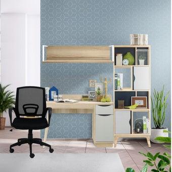 ชุดโต๊ะทำงาน  ขนาด 180 ซม. รุ่น Backus & เก้าอี้ Litto สีไม้อ่อน2