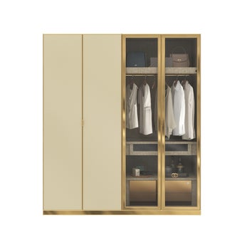 ตู้เสื้อผ้า ขนาด 200 ซม. รุ่น Wardrobe Plus สีครีม1