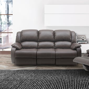 เก้าอี้พักผ่อนหนังสังเคราะห์ เก้าอี้พักผ่อน 3 ที่นั่ง รุ่น Banaris สีสีน้ำตาล-SB Design Square