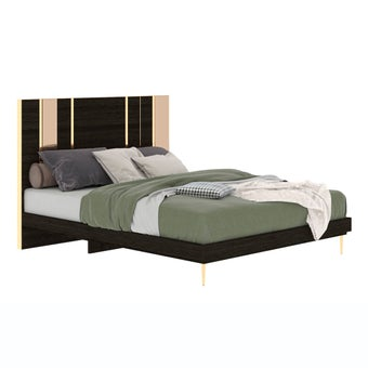 เตียงนอน ขนาด 5 ฟุต รุ่น The Emperor (No LED) ลายไม้สีเข้ม-01
