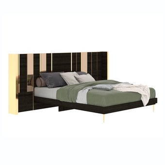 เตียงนอน ขนาด 5 ฟุต รุ่น The Emperor (LED) ลายไม้สีเข้ม