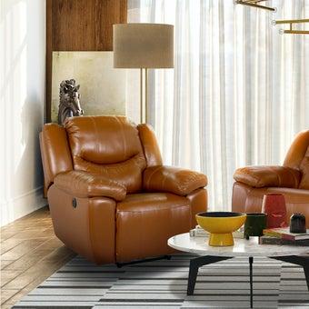 เก้าอี้พักผ่อนหนังแท้ 1 ที่นั่ง รุ่น Mika สีน้ำตาล-01