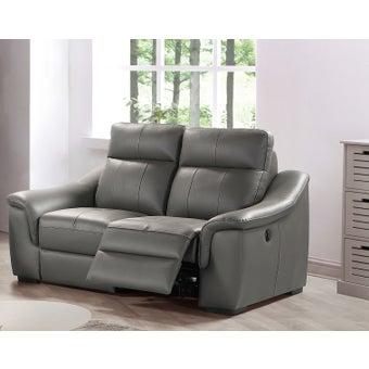 เก้าอี้พักผ่อนหนังแท้ 2 ที่นั่ง รุ่น Nante สีเทาเข้ม-00