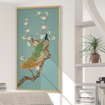 รูปพร้อมกรอบ DoseArt รุ่น Peacocks with Ocean Blue 180x90 cm