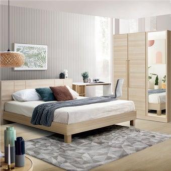 ชุดห้องนอน ขนาด 6 ฟุต รุ่น Hakone & ตู้บานเปิด134 พร้อมที่นอน และโต๊ะทำงาน สีไม้อ่อน2