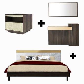 ชุดห้องนอน ขนาด 6 ฟุต รุ่น Reiss สีเข้มลายไม้ธรรมชาติ